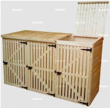 Wheelie Bin Storage Shed 175 - Wooden Slatted Front
