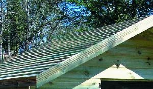 Pressure treated deal slatted roof