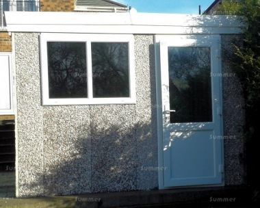 Spar Pent Concrete Shed 493 - PVCu Window, Fascias and Door