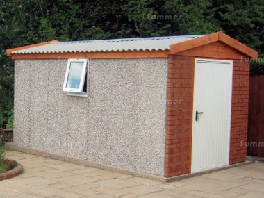Spar Apex Concrete Shed 674 - Brick Posts, PVCu Window