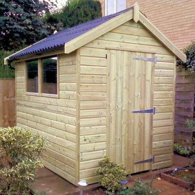 Pressure Treated Apex Shed 610 - Thicker Boards, Corrugated Roof