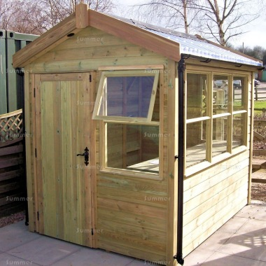 Pressure Treated Potting Shed 687 - Thicker Boards, Part Glazed Roof