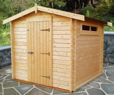 Log Cabin Shed 224 - Fully Boarded Door, Security Windows