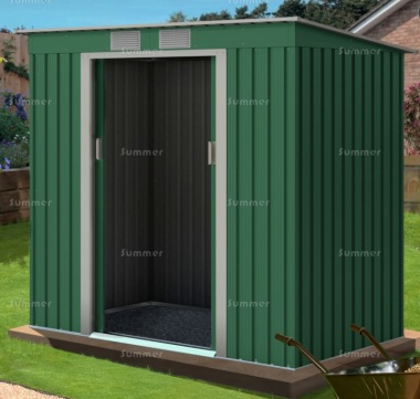 Pent Metal Shed 361 - Double Door, Galvanized Steel