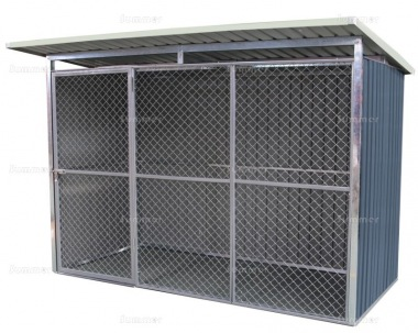 Metal Dog Run 366 - Pent Roof, Galvanized Steel