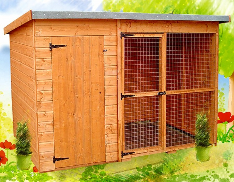 Shiplap Pent Roof Kennel and Run 194