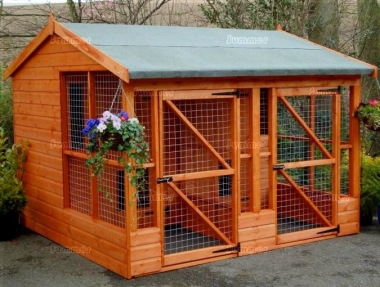 Side Door Apex Shiplap Twin Kennel and Run 203