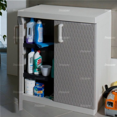 Plastic Storage Cabinet 402 - High Density Polypropylene, Rattan Style